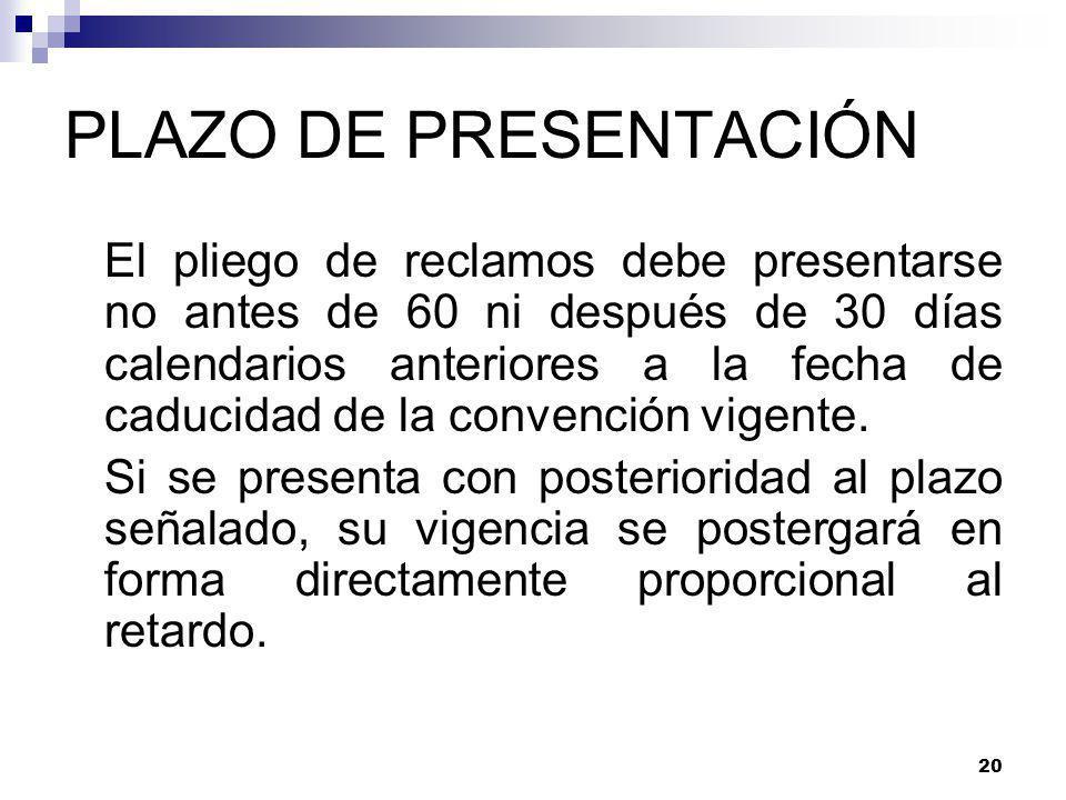 PLAZO DE PRESENTACIÓN