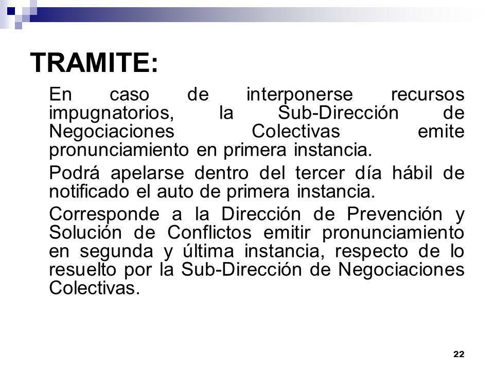 TRAMITE: En caso de interponerse recursos impugnatorios, la Sub-Dirección de Negociaciones Colectivas emite pronunciamiento en primera instancia.