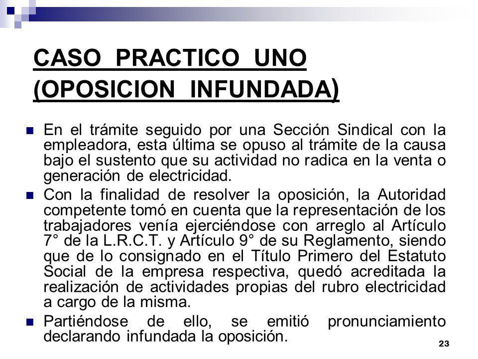 CASO PRACTICO UNO (OPOSICION INFUNDADA)