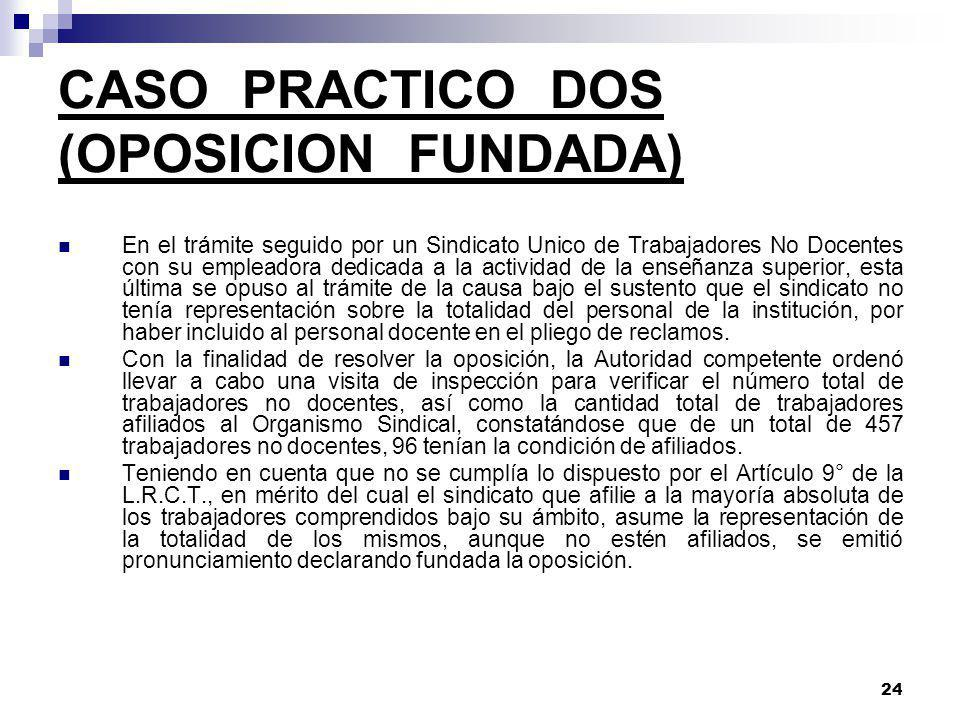 CASO PRACTICO DOS (OPOSICION FUNDADA)