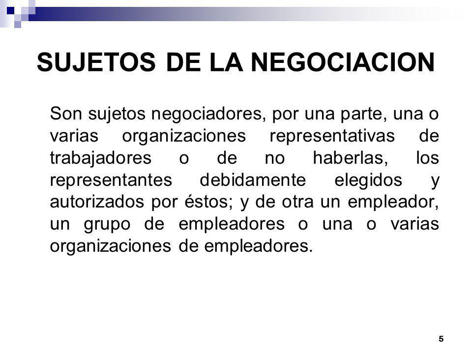 SUJETOS DE LA NEGOCIACION
