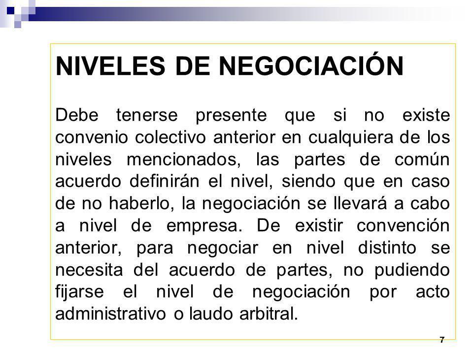 NIVELES DE NEGOCIACIÓN