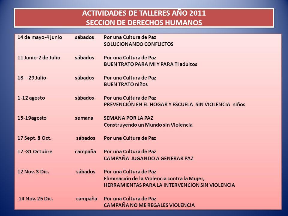 ACTIVIDADES DE TALLERES AÑO 2011 SECCION DE DERECHOS HUMANOS