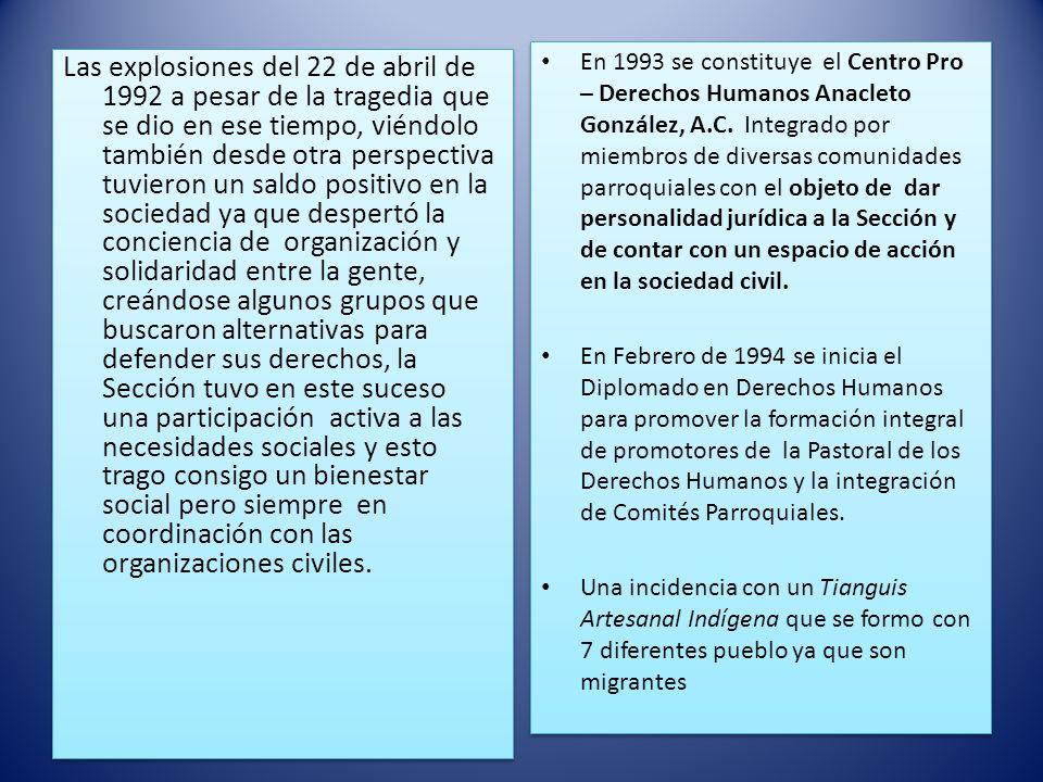 En 1993 se constituye el Centro Pro – Derechos Humanos Anacleto González, A.C. Integrado por miembros de diversas comunidades parroquiales con el objeto de dar personalidad jurídica a la Sección y de contar con un espacio de acción en la sociedad civil.