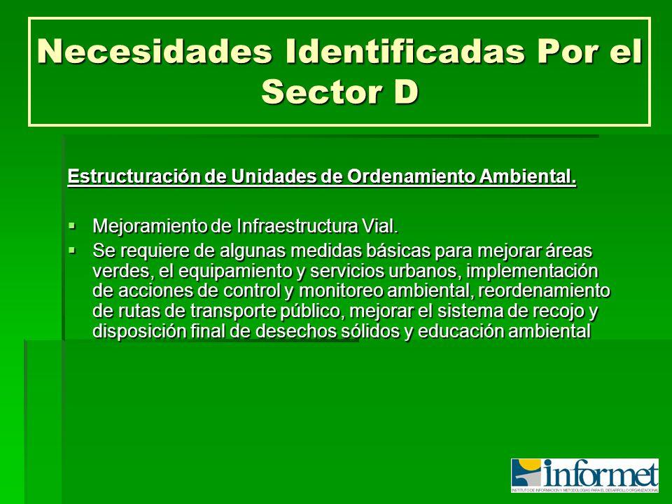 Necesidades Identificadas Por el Sector D