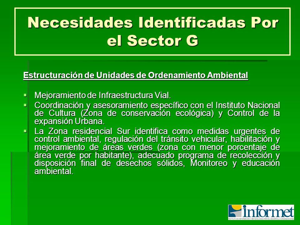 Necesidades Identificadas Por el Sector G