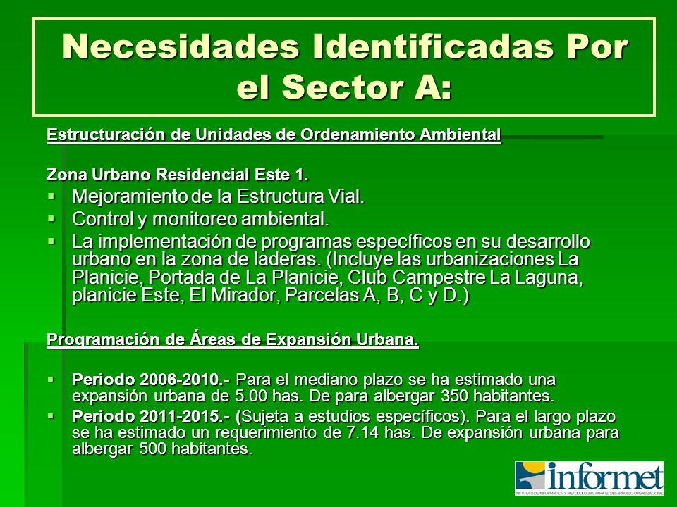 Necesidades Identificadas Por el Sector A: