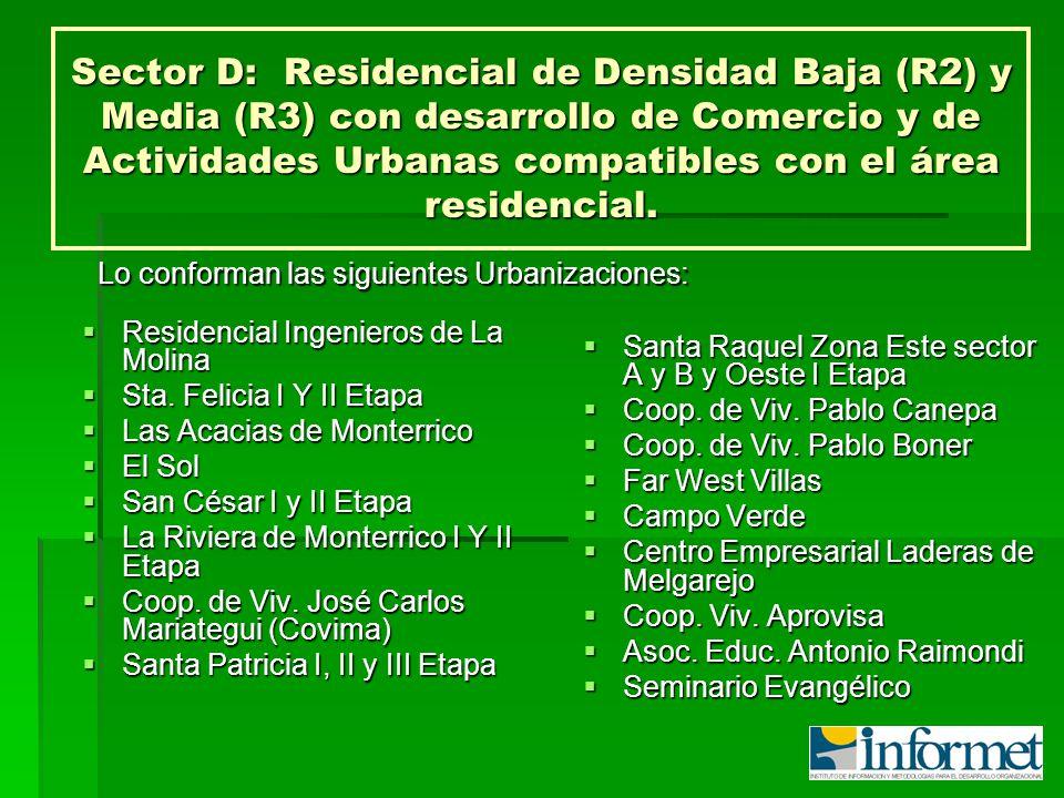 Sector D: Residencial de Densidad Baja (R2) y Media (R3) con desarrollo de Comercio y de Actividades Urbanas compatibles con el área residencial.