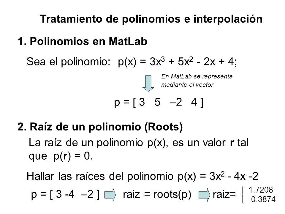 Tratamiento de polinomios e interpolación