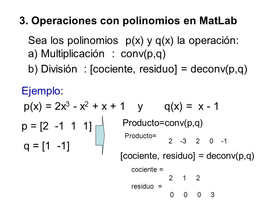 3. Operaciones con polinomios en MatLab