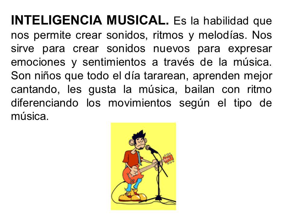 INTELIGENCIA MUSICAL. Es la habilidad que nos permite crear sonidos, ritmos y melodías.