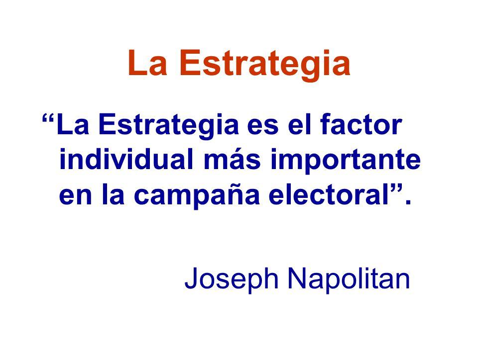 La Estrategia La Estrategia es el factor individual más importante en la campaña electoral .