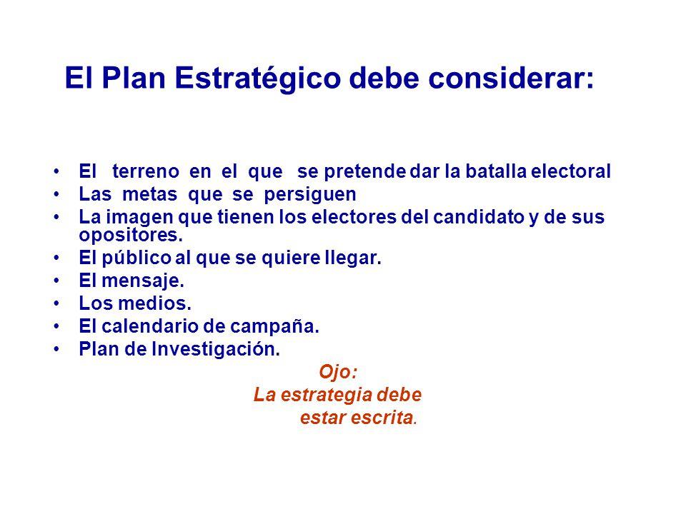 El Plan Estratégico debe considerar: