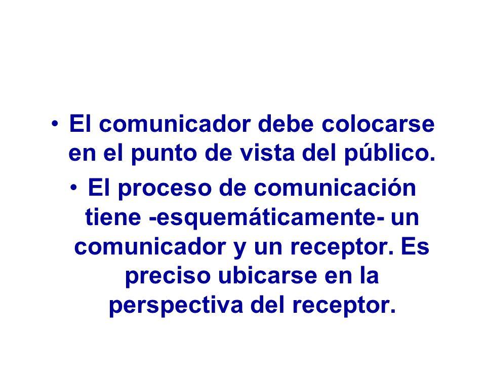 El comunicador debe colocarse en el punto de vista del público.