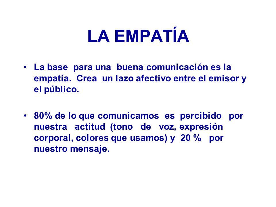 LA EMPATÍA La base para una buena comunicación es la empatía. Crea un lazo afectivo entre el emisor y el público.