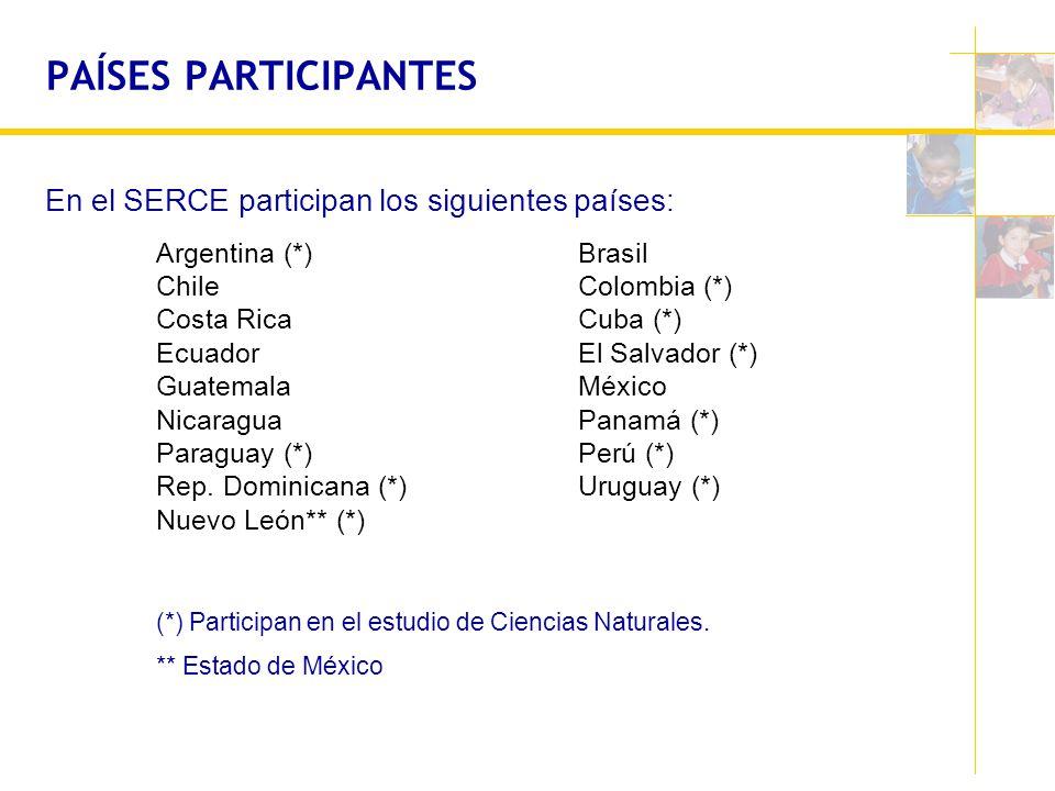 PAÍSES PARTICIPANTES En el SERCE participan los siguientes países:
