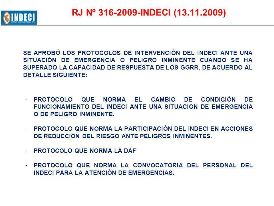 RJ Nº 316-2009-INDECI (13.11.2009)