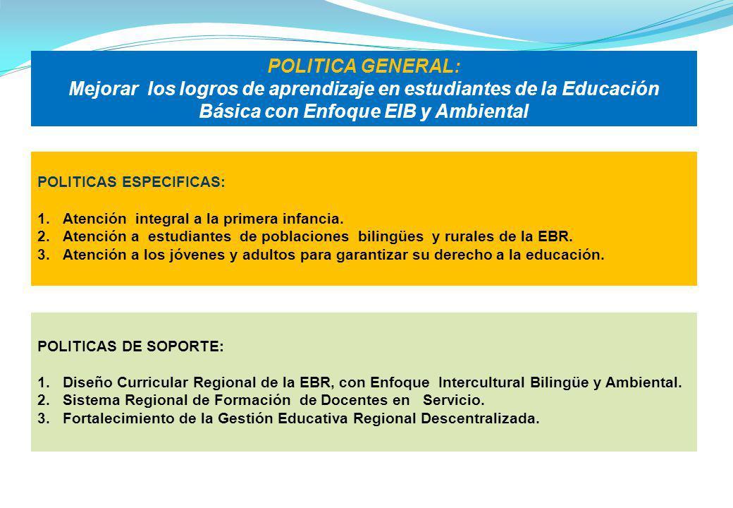 POLITICA GENERAL: Mejorar los logros de aprendizaje en estudiantes de la Educación Básica con Enfoque EIB y Ambiental.
