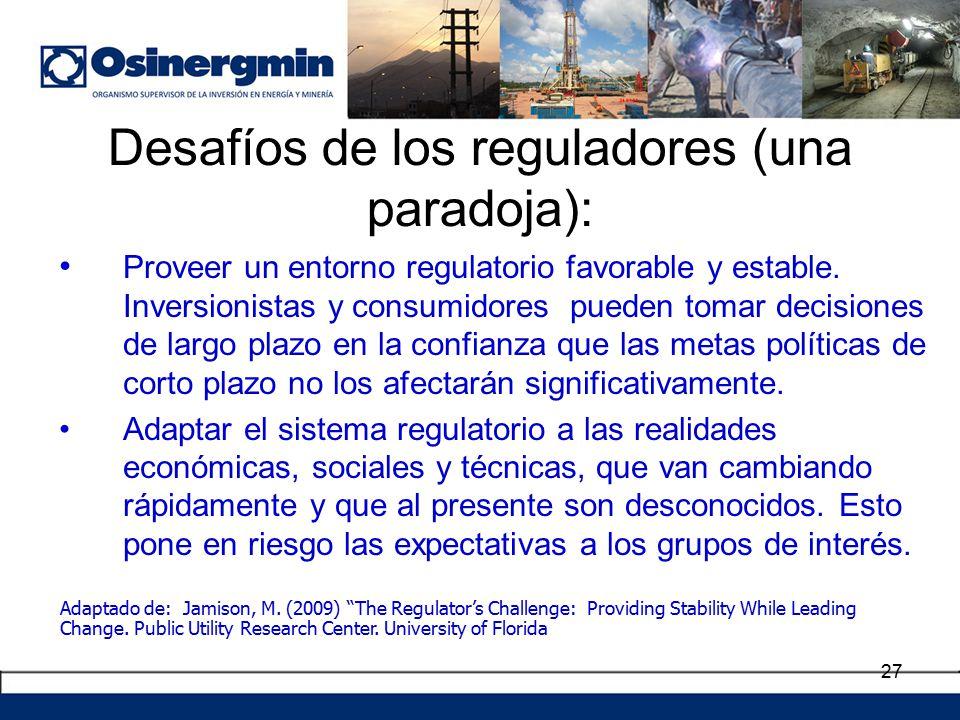 Desafíos de los reguladores (una paradoja):