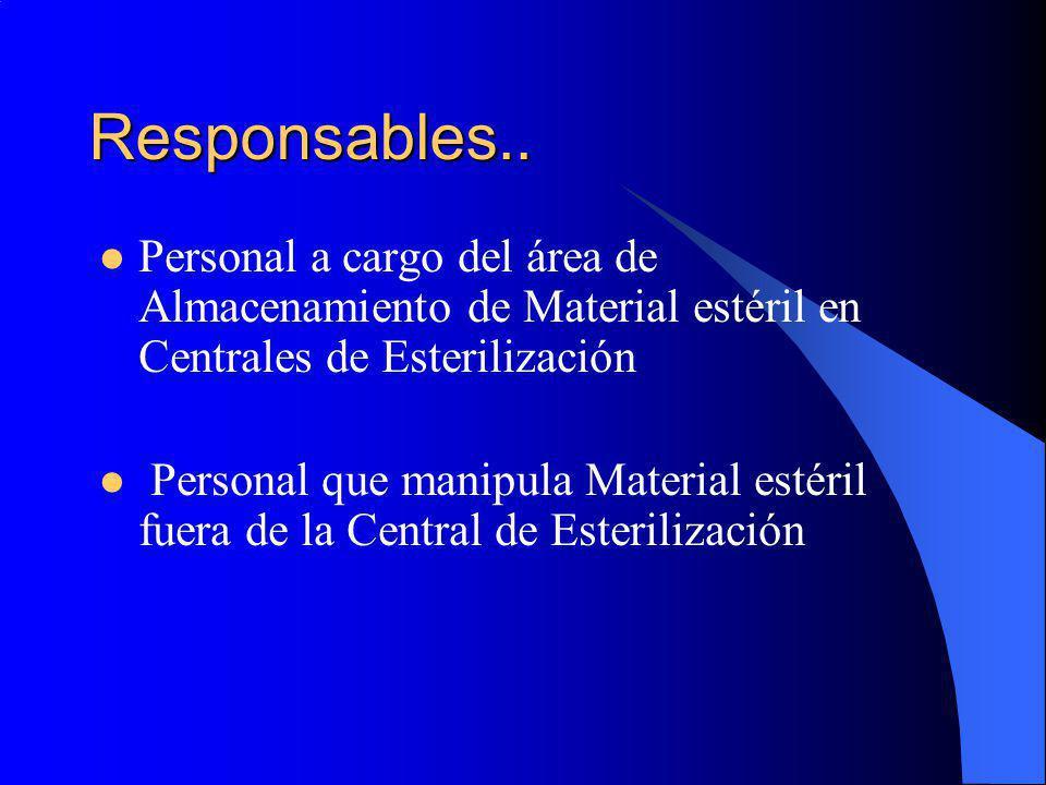 Responsables.. Personal a cargo del área de Almacenamiento de Material estéril en Centrales de Esterilización.