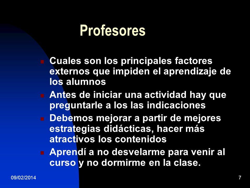 Profesores Cuales son los principales factores externos que impiden el aprendizaje de los alumnos.