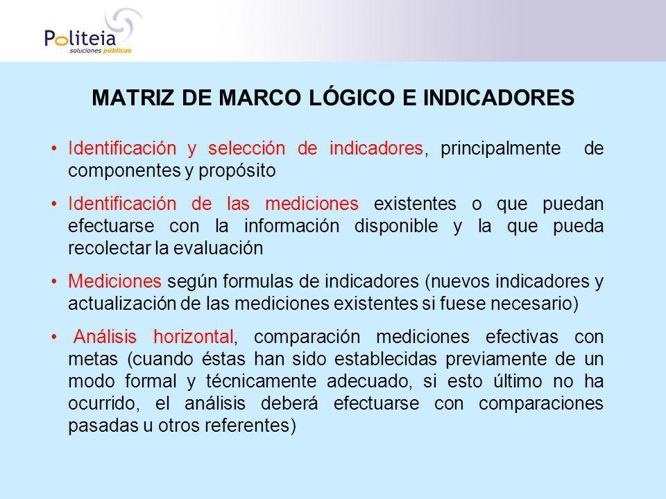 MATRIZ DE MARCO LÓGICO E INDICADORES