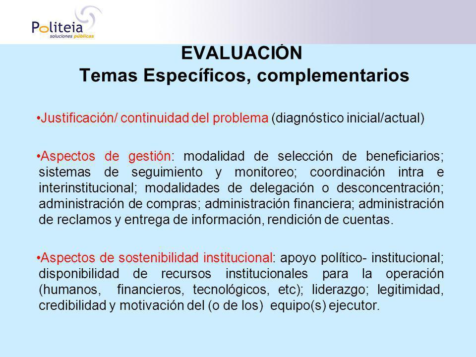 EVALUACIÓN Temas Específicos, complementarios