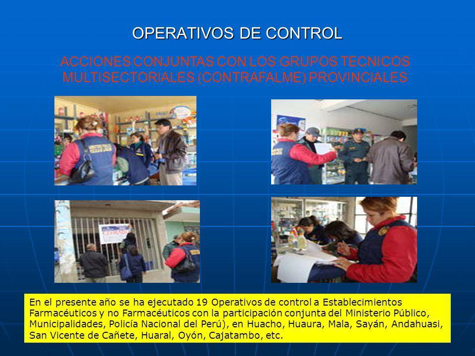 OPERATIVOS DE CONTROL ACCIONES CONJUNTAS CON LOS GRUPOS TECNICOS MULTISECTORIALES (CONTRAFALME) PROVINCIALES.