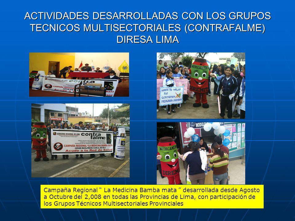 ACTIVIDADES DESARROLLADAS CON LOS GRUPOS TECNICOS MULTISECTORIALES (CONTRAFALME) DIRESA LIMA
