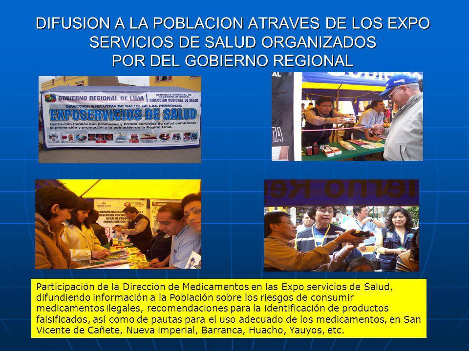 DIFUSION A LA POBLACION ATRAVES DE LOS EXPO SERVICIOS DE SALUD ORGANIZADOS POR DEL GOBIERNO REGIONAL