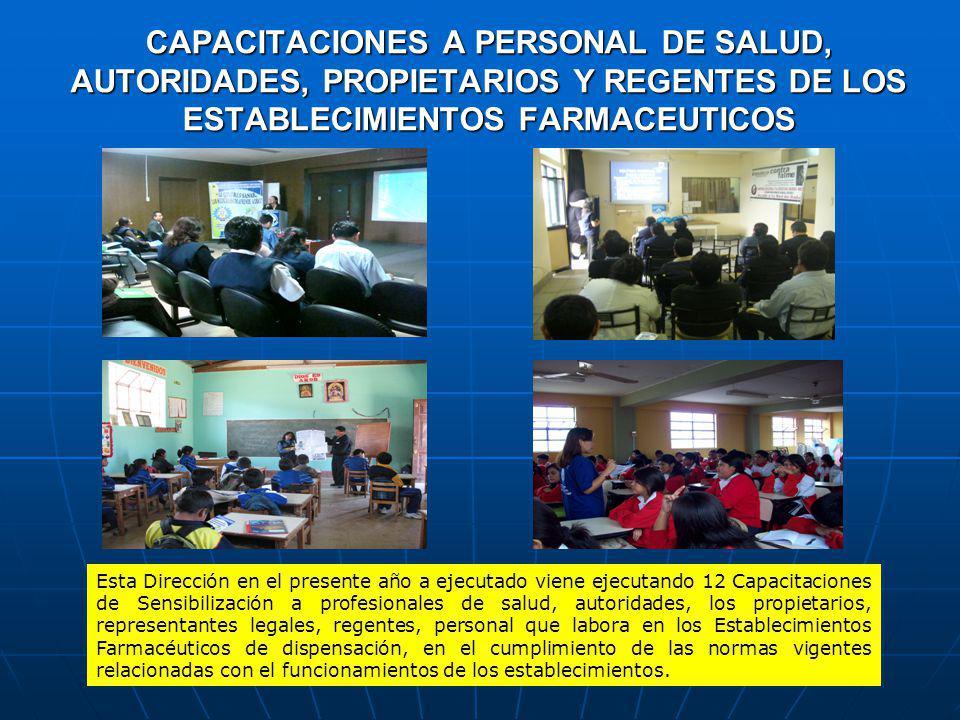CAPACITACIONES A PERSONAL DE SALUD, AUTORIDADES, PROPIETARIOS Y REGENTES DE LOS ESTABLECIMIENTOS FARMACEUTICOS
