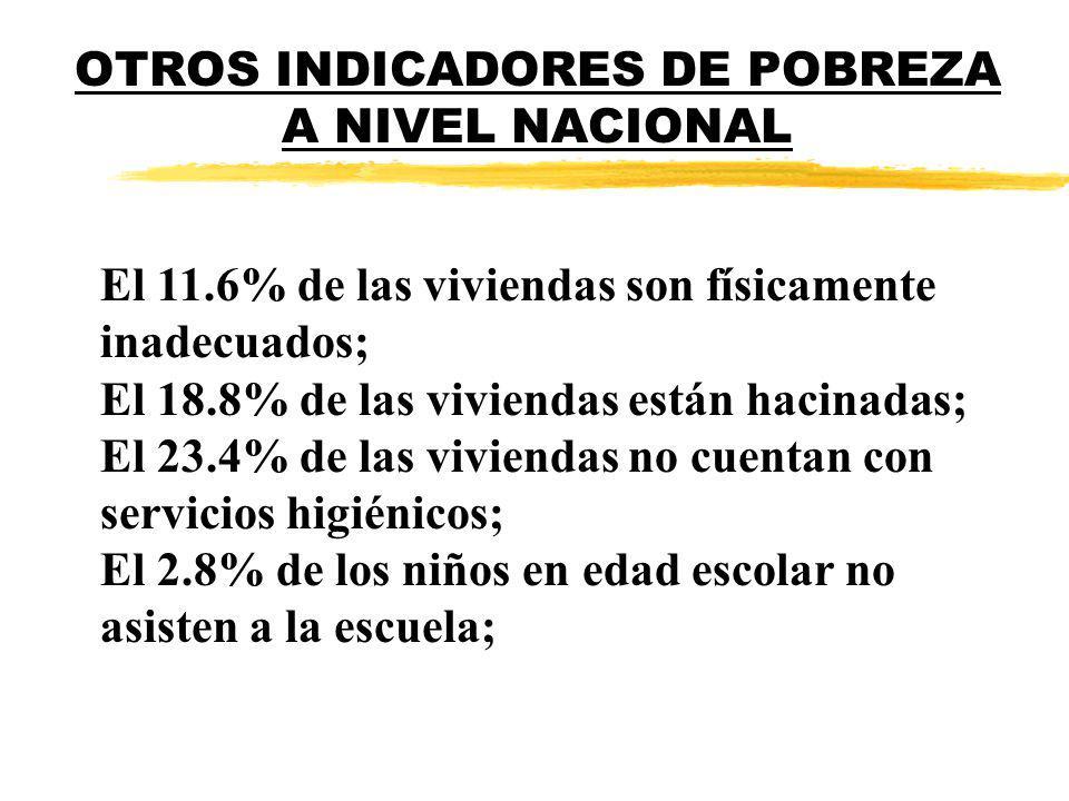 OTROS INDICADORES DE POBREZA A NIVEL NACIONAL