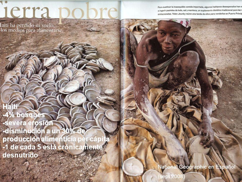 -disminución a un 30% de producción alimenticia per cápita