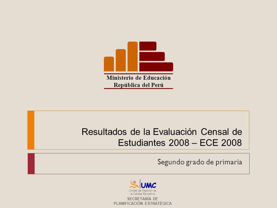 Resultados de la Evaluación Censal de Estudiantes 2008 – ECE 2008