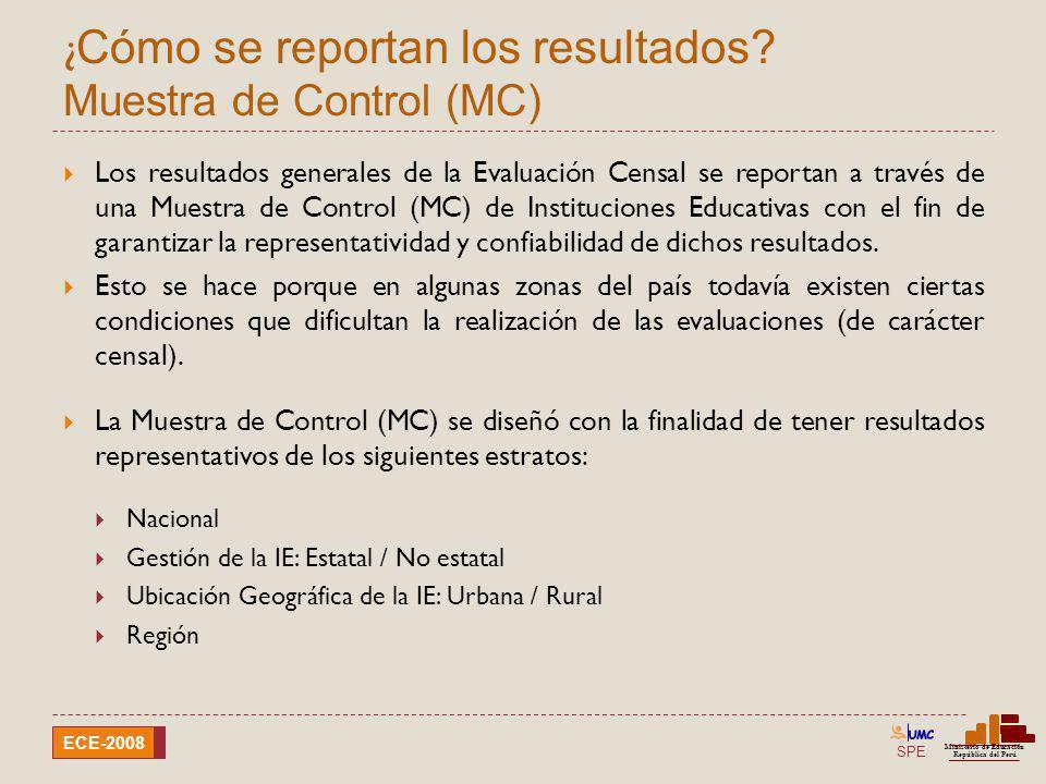 ¿Cómo se reportan los resultados Muestra de Control (MC)