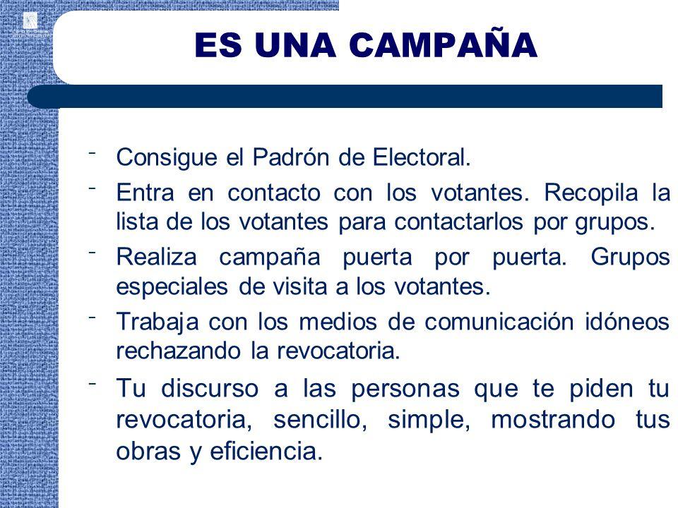ES UNA CAMPAÑA Consigue el Padrón de Electoral. Entra en contacto con los votantes. Recopila la lista de los votantes para contactarlos por grupos.