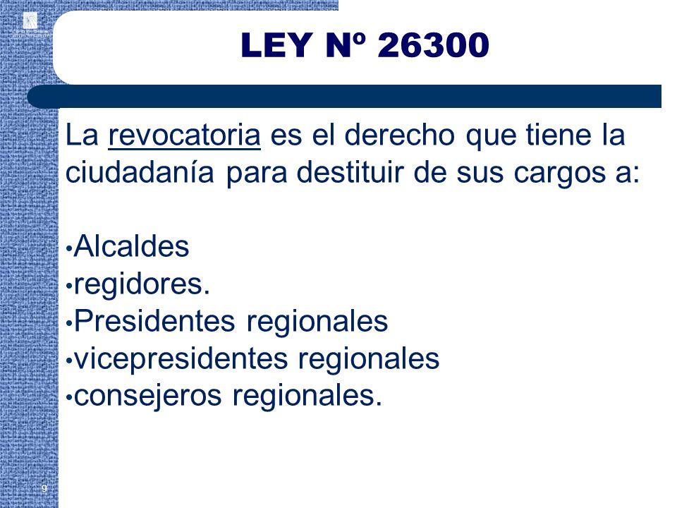 LEY Nº 26300 La revocatoria es el derecho que tiene la ciudadanía para destituir de sus cargos a: Alcaldes.
