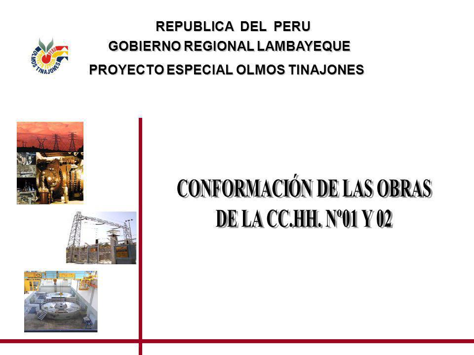 GOBIERNO REGIONAL LAMBAYEQUE CONFORMACIÓN DE LAS OBRAS