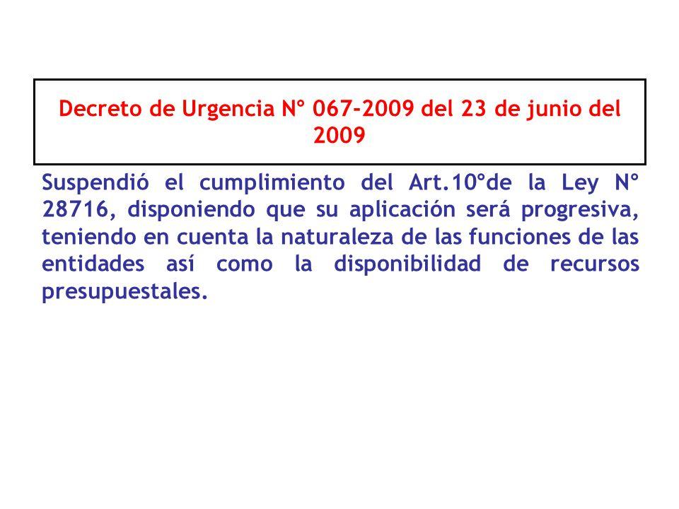 Decreto de Urgencia N° 067-2009 del 23 de junio del 2009
