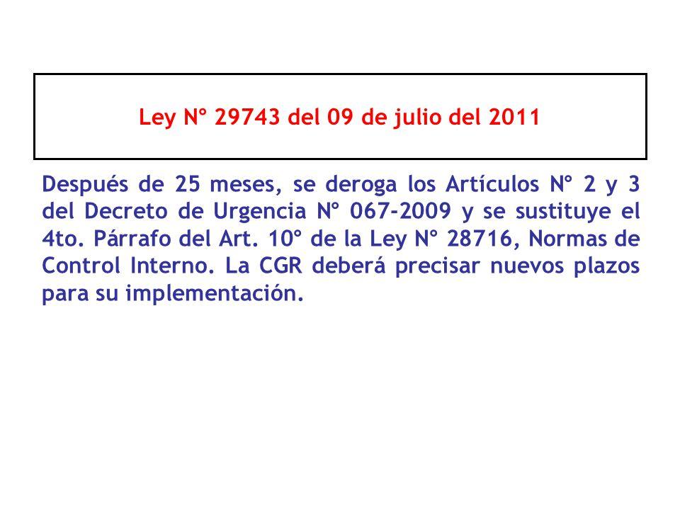 Ley N° 29743 del 09 de julio del 2011