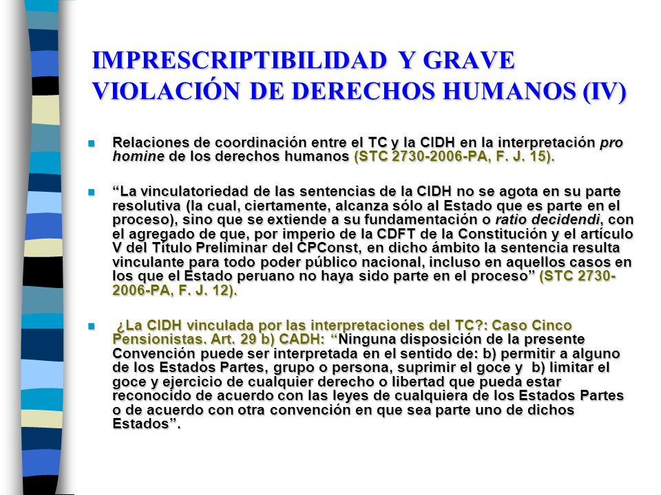 IMPRESCRIPTIBILIDAD Y GRAVE VIOLACIÓN DE DERECHOS HUMANOS (IV)