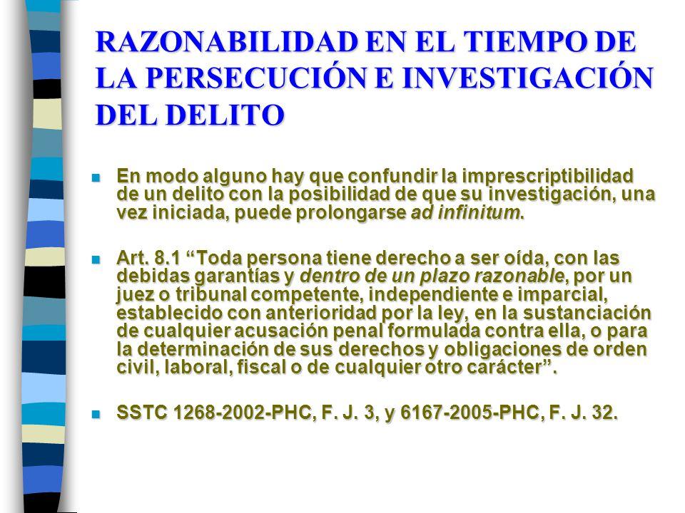 RAZONABILIDAD EN EL TIEMPO DE LA PERSECUCIÓN E INVESTIGACIÓN DEL DELITO