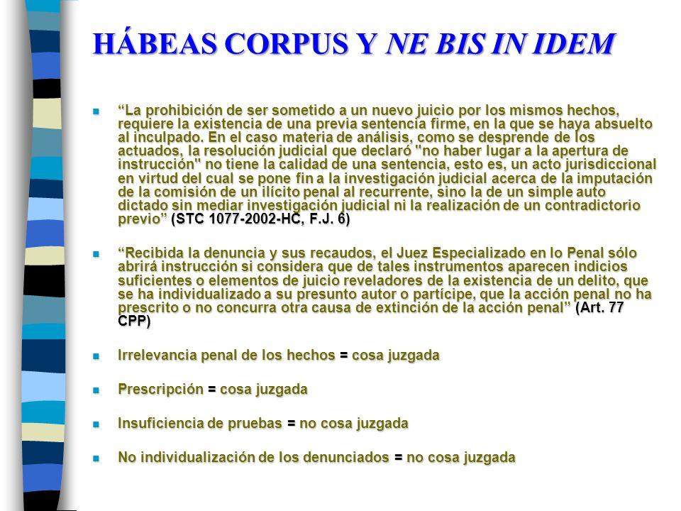 HÁBEAS CORPUS Y NE BIS IN IDEM