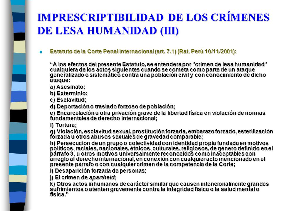IMPRESCRIPTIBILIDAD DE LOS CRÍMENES DE LESA HUMANIDAD (III)