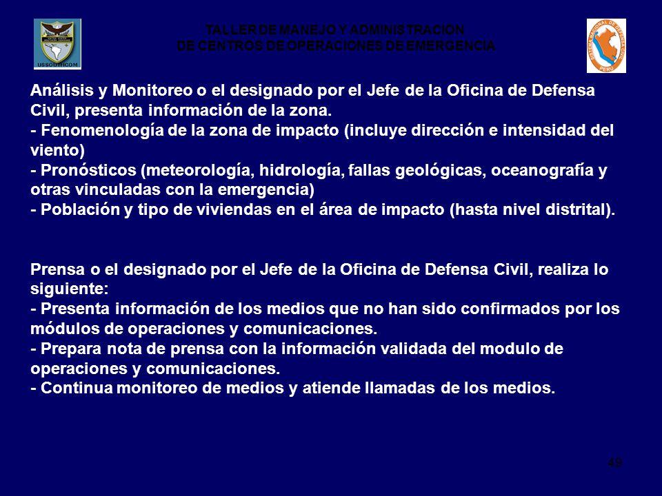 Análisis y Monitoreo o el designado por el Jefe de la Oficina de Defensa Civil, presenta información de la zona.
