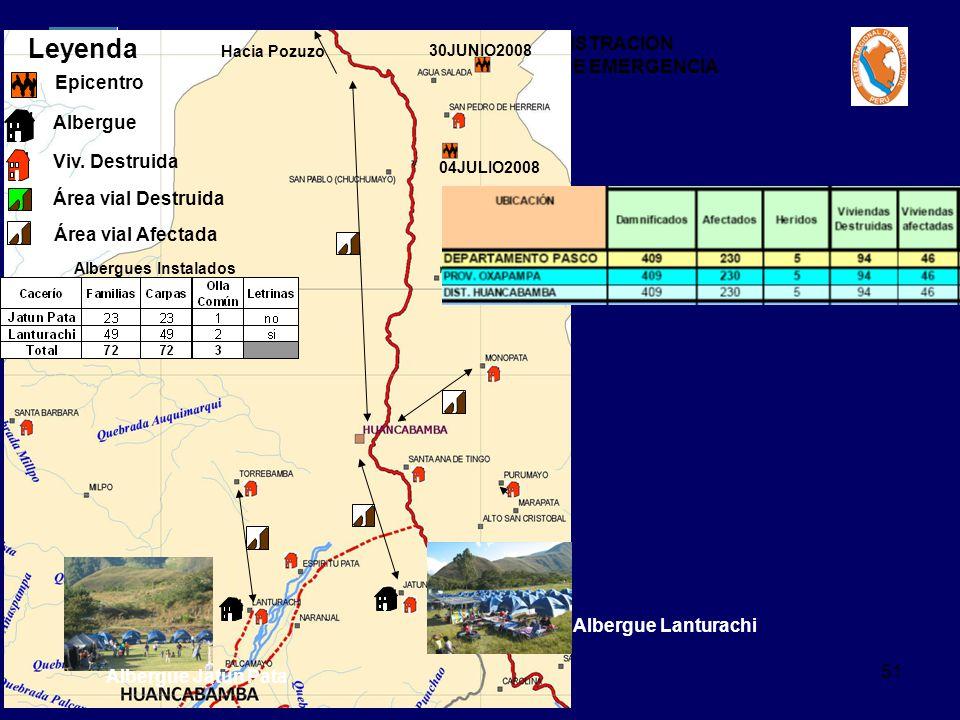 Leyenda Epicentro Albergue Viv. Destruida Área vial Destruida
