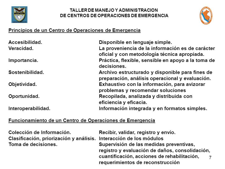 Principios de un Centro de Operaciones de Emergencia