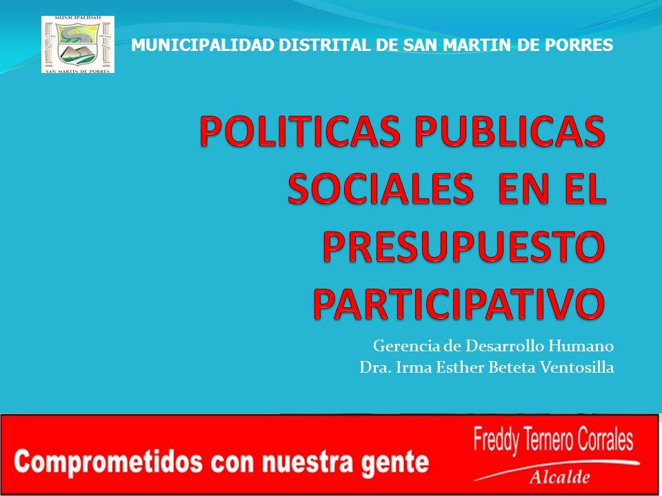 POLITICAS PUBLICAS SOCIALES EN EL PRESUPUESTO PARTICIPATIVO