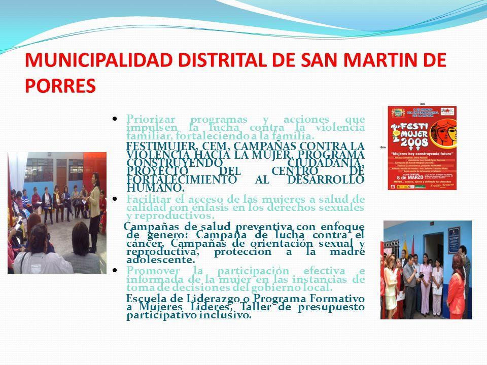 MUNICIPALIDAD DISTRITAL DE SAN MARTIN DE PORRES