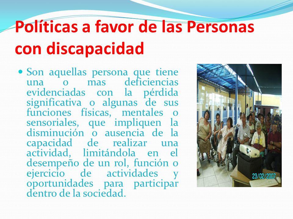 Políticas a favor de las Personas con discapacidad
